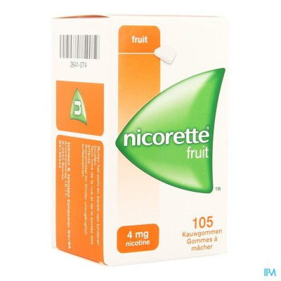 NICORETTE FRUIT KAUWGOM 105X4MG