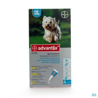 ADVANTIX 100/ 500 HONDEN 4<10KG FL 4X1,0ML