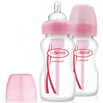 DR BROWN WIDE NECK FLES 240ML ROZE DUO PACK